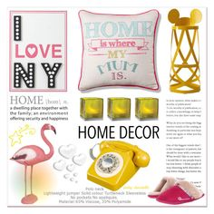 """""""#33 Pink & Yellow Home: 30/08/15"""" by pinky-chocolatte ❤ liked on Polyvore featuring interior, interiors, interior design, home, home decor, interior decorating, PBteen, Bedroom Athletics, Valentino and Cappellini"""