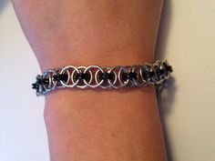 Black and Silver Chainmaille Bracelet  on Etsy, $35.00 CAD