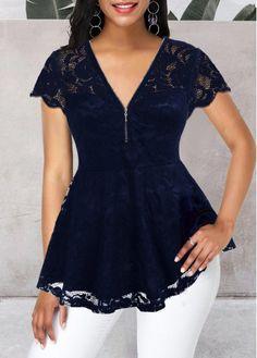 V Neck Short Sleeve Quarter Zip Lace Blouse Trendy Tops For Women, Blouses For Women, Fashion Outfits, Womens Fashion, Fashion Blouses, Blouse Styles, Blue Lace, Black Blouse, Short Sleeve Dresses