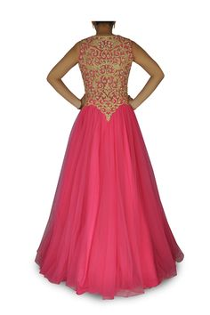 Ruby pink net flared gown