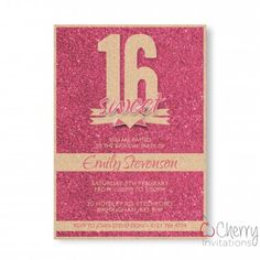 Pink Glitter Themed Single Sided Personalised Birthday Invitations - From as little as per card - Including free envelopes and delivery on all orders! Personalized Invitations, Pink Glitter, Envelopes, Birthday Invitations, Rsvp, Delivery, Cards, Free, Map