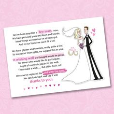Do I Buy A Wedding Gift For A Destination Wedding : 25 Wedding Wishing Well Poem Cards For Your Invitations - For Money ...