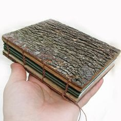 Customizable Rustic Natural Bark Bradford Pear and Oak Wood Wedding Guest Book or Journal by Tanja Sova