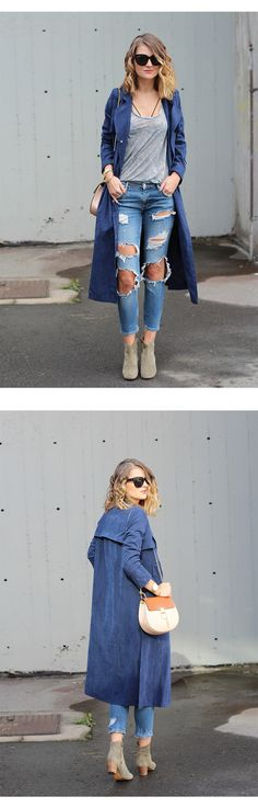Fashion Style How-To: Pretty Charming & Chic --- Try a Trendy Trench Coat. This navy long coats matched with a grey casual tshirt, ripped jeans and ankle boots, perfect street fashion style! Free Shipping at shein.com