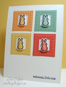 handmade baby card from wee inklings . grid of die cut twenchies (?) with embossed cross stitched borders . little bunnies on top . Handmade Baby, Handmade Cards, Baby Baskets, Cross Stitch Borders, Embossed Cards, Welcome Baby, Close To My Heart, My Stamp, Paper Cards