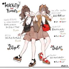 Mickey and Friends Anime Outfits, Disney Outfits, Cute Outfits, Disneyland Outfits, Fashion Design Drawings, Fashion Sketches, Look Fashion, Fashion Art, Matching Costumes