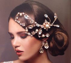 Hairpiece in rose gold with pearls, vintage rose and clear stones