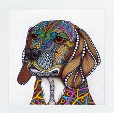 This is Liz's Beagle, Bandit.  zentangle inspired original art in ink, graphite and colored pencil by Joni Hoffman.