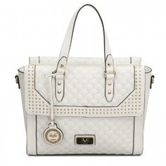 You'll look so fresh and stylish wearing the Versace 19V69 Italia Micro Studded Palazzo Tote in white.