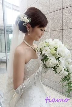 美人花嫁さまの3アップスタイルチェンジで素敵な一日♡ |大人可愛いブライダルヘアメイク『tiamo』の結婚カタログ|Ameba (アメーバ) Wedding Hair And Makeup, Bridal Hair, Hair Makeup, Hair Wedding, Bride Hairstyles, Wedding Images, Headdress, One Shoulder Wedding Dress, Marie