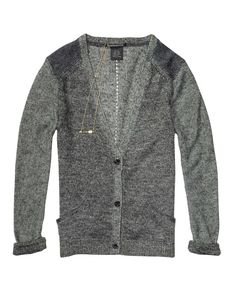 Two-Tone Knitted Cardigan With Leather Elbow Patches - Scotch & Soda