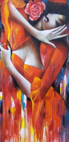 Flamenco by Ira Tsantekidou Art Pop, Spanish Art, Mexican Spanish, Spanish Dancer, Greek Art, Wow Art, Oeuvre D'art, Painting & Drawing, Amazing Art