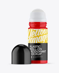 Open Plastic Glossy Roll-On Deodorant Mockup (Preview)