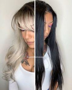 Boxed color to icy blonde Black colored hair to icy blonde in one session. Check the link for how to and formulaBlack colored hair to icy blonde in one session. Check the link for how to and formula Black To Blonde Hair, Long Gray Hair, Icy Blonde, Hair Color For Black Hair, Platinum Blonde, Blonde Brunette, Blond Hairstyles, Hairstyles 2018, Medium Hairstyles