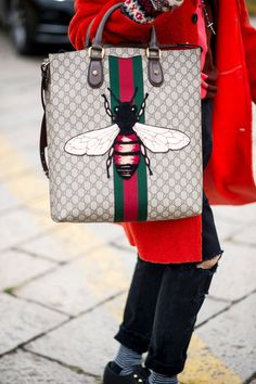 Check Out the Flashy Street Style Accessories Taking Over Milan Fashion Week Day 1 Gucci Bag