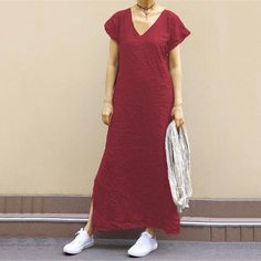 Elegant Holiday Maxi Dress – Page 9 – jullymart Stitching Dresses, Linen Dresses, Maxi Dresses, Dress Prom, Style Casual, Casual Styles, Short Sleeve Dresses, Dresses With Sleeves, Maxi Robes