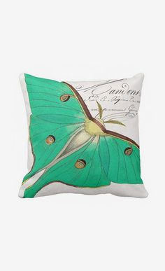 Pillow Cover Green Moth Cotton and Burlap Pillow