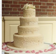 simple wedding cake with sugar pearls