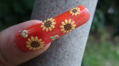 9 Best Sunflower Nail Art Designs: Sunflower Sticker Nail Art: Rose Nail Art, Rose Nails, Colorful Nail Designs, Beautiful Nail Designs, Nail Polish Designs, Nail Art Designs, Watermelon Nail Art, Sunflower Nail Art, Black And White Nail Designs