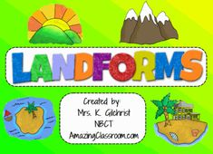 All About LANDFORMS -     Smartboard for Smart Notebook -     Complete HUGE Lesson - 55 pages!