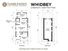 557 sq ft WHIDBEY 2.Bed Open Plan with an Estimated $41,500 Building Cost | via Tumbleweed