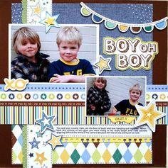 Little Cutie Boy Oh Boy Layout by Cari Locken (baby boy scrapbook page layout idea 12x12)