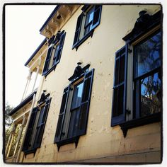 Pretty window panes and peeling paint