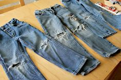 How to turn kids jeans into shorts and patch knee holes
