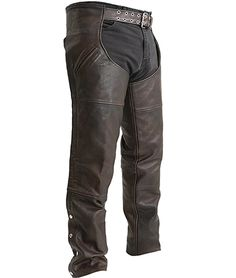 FMC Rover Thigh Pocket Biker Style Mens Brown Leather Motorcycle Chaps made of soft milled brown cowhide leather with built in heavy duty mesh liner, leg zippers for easy on or off, trimmable length, and 17 inch deep slash pocket style for bikers and motorcycle riders. Mesh, Pockets, Unisex, Zip, Storage, Brown, Pants, Products, Fashion
