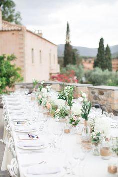 Romantic Tablescape   Intimate Outdoor Destination Wedding at Kinsterna Hotel & Spa in Greece   Cecelina Photography #weddingreception #greece #weddingphotography #weddingdecor