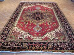 9 x 12 Hand Knotted Rust/Black Serapi Heriz Oriental Rug on Etsy, $1,099.00