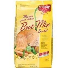Broodmix bruin - Dr Schar  Ingrediënten: maïszetmeel, lijnzaadmeel 12%, boekweitmeel 8%, erwtenzemelen, rijstzemelen, appelvezels, zout, suiker, verdikkingsmiddel: guarpitmeel. Kan sporen van soja bevatten. Lactosevrij.