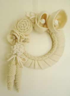 Up-cycled sweater wreath by Nanniepannie on etsy