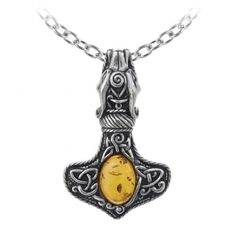 Purple Leopard Boutique - Amber Dragon Thorhammer Necklace Alchemy Gothic Pewter Jewelry Pendant P728, $51.00 (http://www.purpleleopardboutique.com/amber-dragon-thorhammer-necklace-alchemy-gothic-pewter-jewelry-pendant-p728/?page_context=category