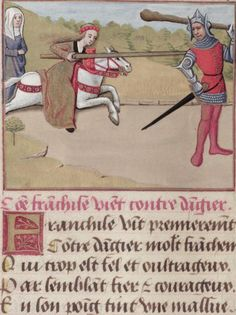 """Bodleian, MS. Douce 195, detail of f. 109v (""""Watched by Pity, Frankness, a woman on horseback, attacks the male Danger (Reserve) with her lance""""). Guillaume de Lorris and Jean de Meung, Le roman de la rose. France, end of the 15th century."""