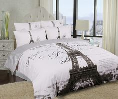 I want this for MY room, adult ! Elegant Paris Eiffel Tower Bedding Twin Full/Queen Duvet Cover or Comforter Combo Set White Grey Paris Themed Bedding, Paris Bedding, Duvet Bedding, Paris Room Decor, Paris Rooms, Paris Bedroom, Plywood Furniture, Design Furniture, Queen Bedding Sets