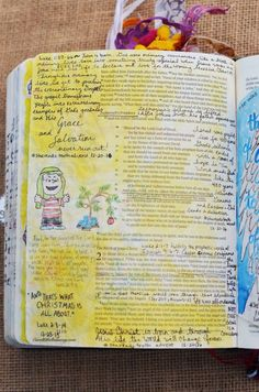 Luke 1:57-66, 67-79, 2:1-7 December 20, 21 & 22, 2016 carol@belleauway.com, advent notes added with an Illustrated Faith pen to the page where I drew Linus last year, bible art journaling, journaling bible, illustrated faith