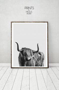 Cow Print Cow Wall Art Instant Download Black by PrintsMiuusStudio