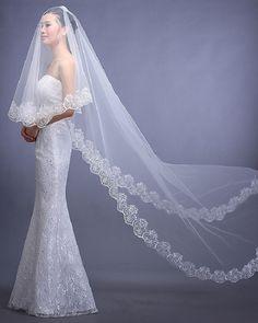 Amdml 2017 Hot Sale One Layer Bridal Wedding Veil White Ivory Bridal Accessories Appliques Cheap Wedding Accessories Veil-001