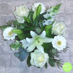 White & Green Flower Bouquet Green Flowers, White Flowers, Hand Tied Bouquet, Flowers Delivered, Bouquets, Lily, Seasons, Rose, Simple