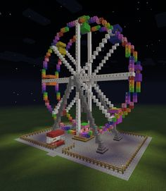 Minecraft Ferris Wheel Ticket Booth Colorful Amusement Park