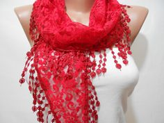 Red Lace Cowl Scarf Shawl by ScarfClub