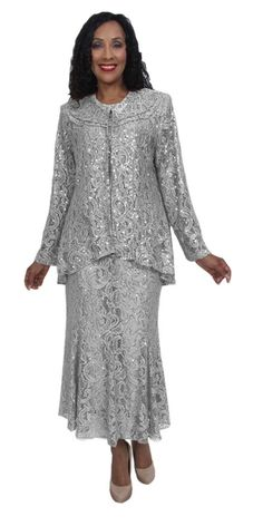 f2bf19a7711 Hosanna 5015 Plus Size 3 Piece Set Silver Tea Length Dress Lace