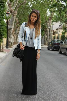 Black Maxi Skirt with white tank and long necklace | Clothes ...