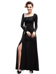 Amazon.com: Ever Pretty Blacks Long Sleeve Rhinestones Sequins Split Evening Dress 09738: Clothing