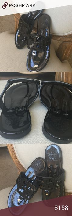 """Tory Burch black patent leather """"Miller"""" sandals Gorgeous black patent leather square """"Miller"""" sandals. Excellent condition! Practically New! Tory Burch Shoes Sandals"""