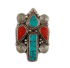 Tibetan Ring Turquoise Coral Ring Nepal Vintage by InVintageHeaven