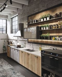 Bring Some Brick & Steel To Your Living Space 10 Creative Industrial Kitchen Decor Ideas For Your Urban Entertainment Spaces industrial and rustic loft kitchen by snaidero 4 Industrial Kitchen Design, Industrial House, Industrial Interiors, Rustic Kitchen, Interior Design Kitchen, Vintage Industrial, Urban Industrial, Industrial Apartment, Industrial Furniture
