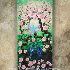 GRADUATiON GiFT BiRDS Family on brunch blossom tree SaKURA art painting contemporary artwork acrylic on canvas by Ksavera gift ideas for her by KsaveraART #TrendingEtsy