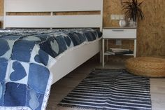 "Handmade Denim Woven Rug , Nautical Denim Rug , Woven Loom Rug , Striped , Floor Rugs , Sailor , Marine , Beach , Lake House cottage 53""x26"" by SecondBirthday on Etsy"